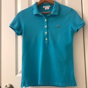 Lacoste turquoise polo size 36